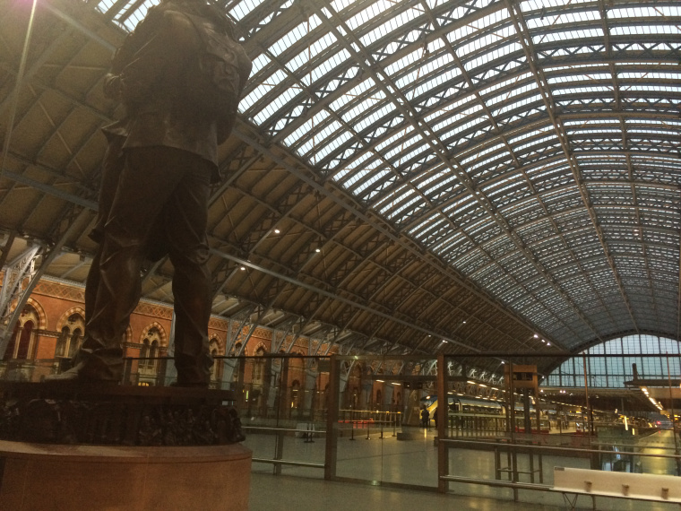 Inside St. Pancras Station ready to go to paris