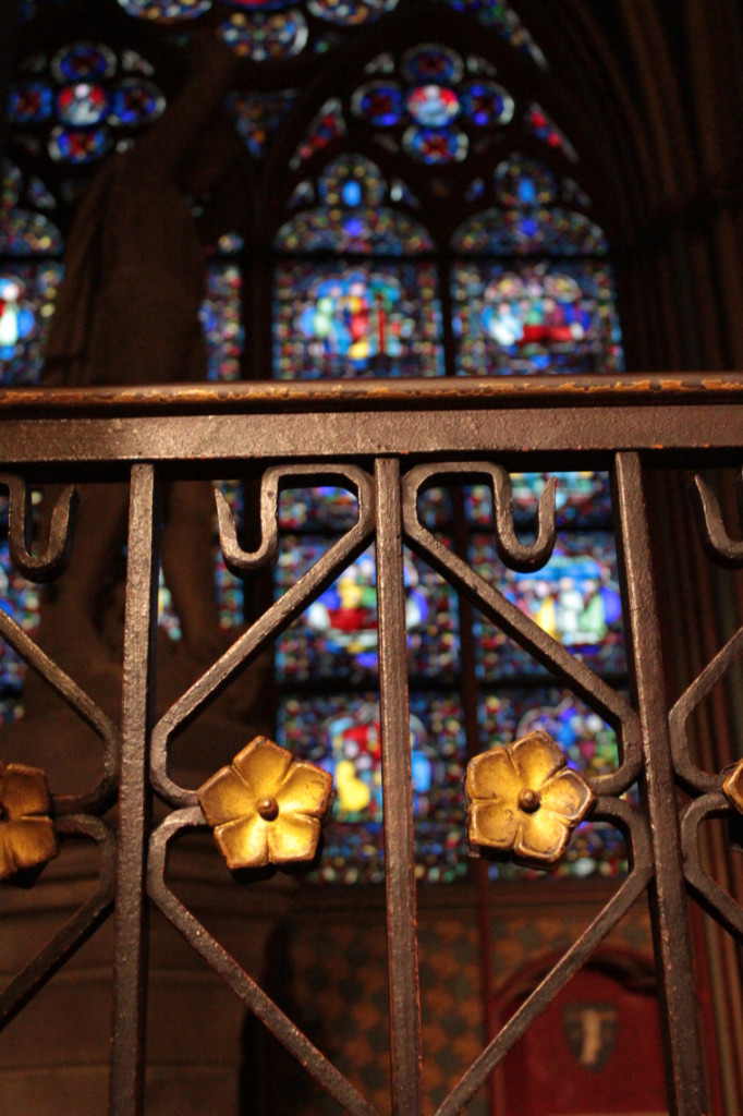 A beautiful stain glass window in Notre Dame Cathedral