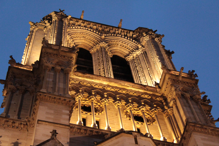 One of the towers of Notre Dame lit up at night