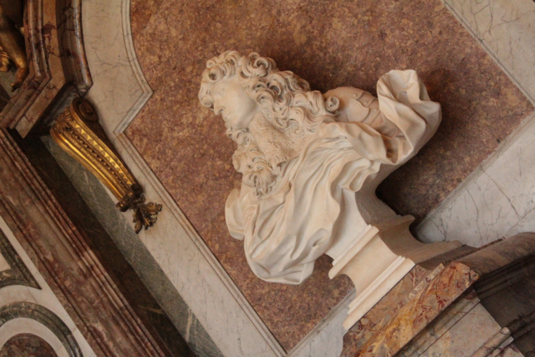 White marble bust of King Louis XIV in Versailes