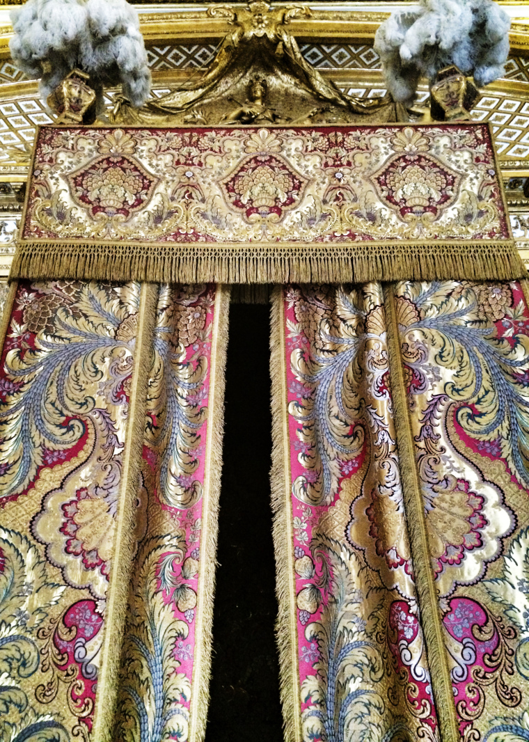 The luxurious curtains in the King's Bedroom Versailles