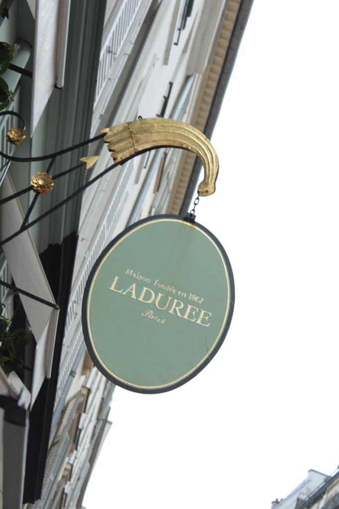 Outside the Laduree shop in Paris