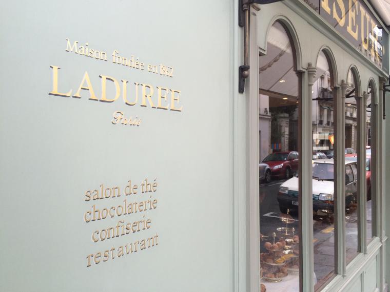Signage at the Laduree shop in Paris