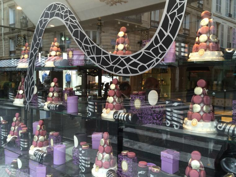 Stacks of festive macaroons in the Laduree shop Paris