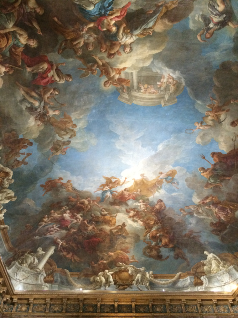 Frescoes on the ceiling in Versailles