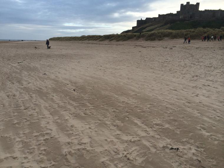 Bamburgh beach and castle, Northumberland