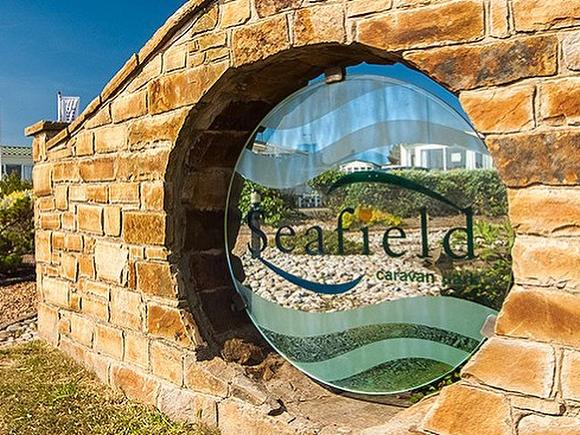 Seafield Caravan Park Beadnell, entrance sign