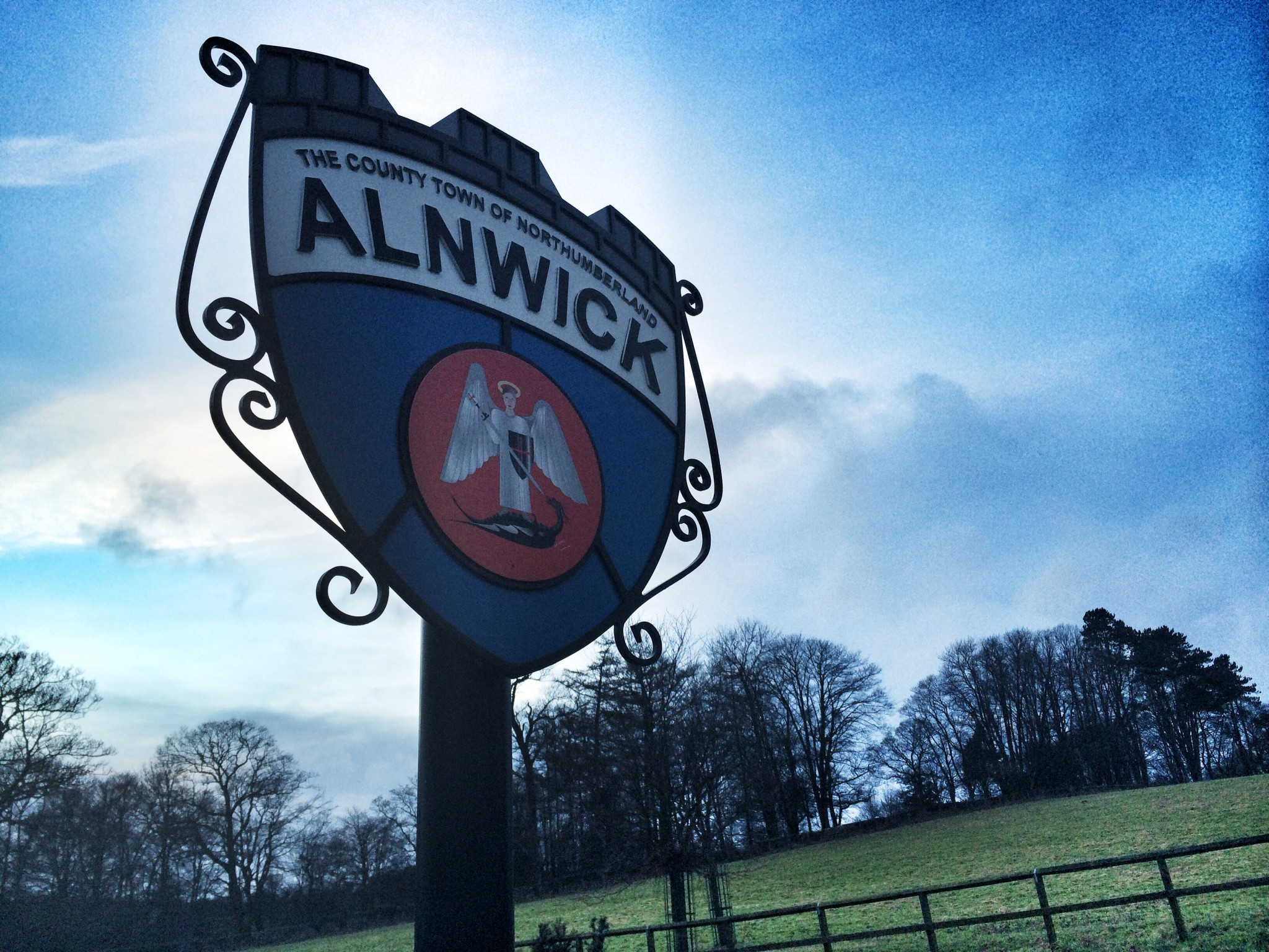 Sign for Alnwick Town Northumberland