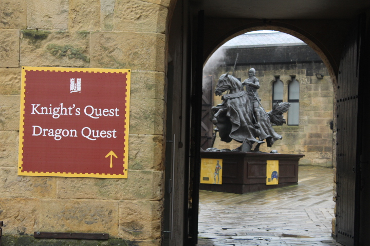 Signs to Knights Quest in Alnwick Castle Northumberland
