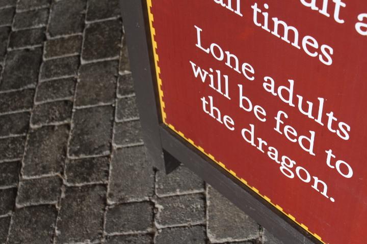Dragon's Quest sign in Alnwick CAStle