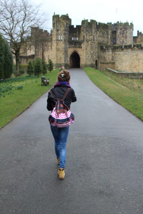 Walking towards Alnwick Castle