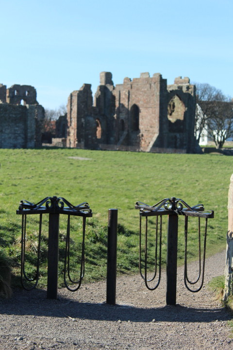 Walking towards Lindisfarne Priory