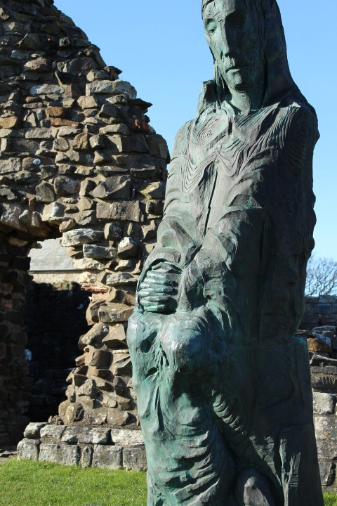 Statue in Lindisfarne Priory Northumeberland