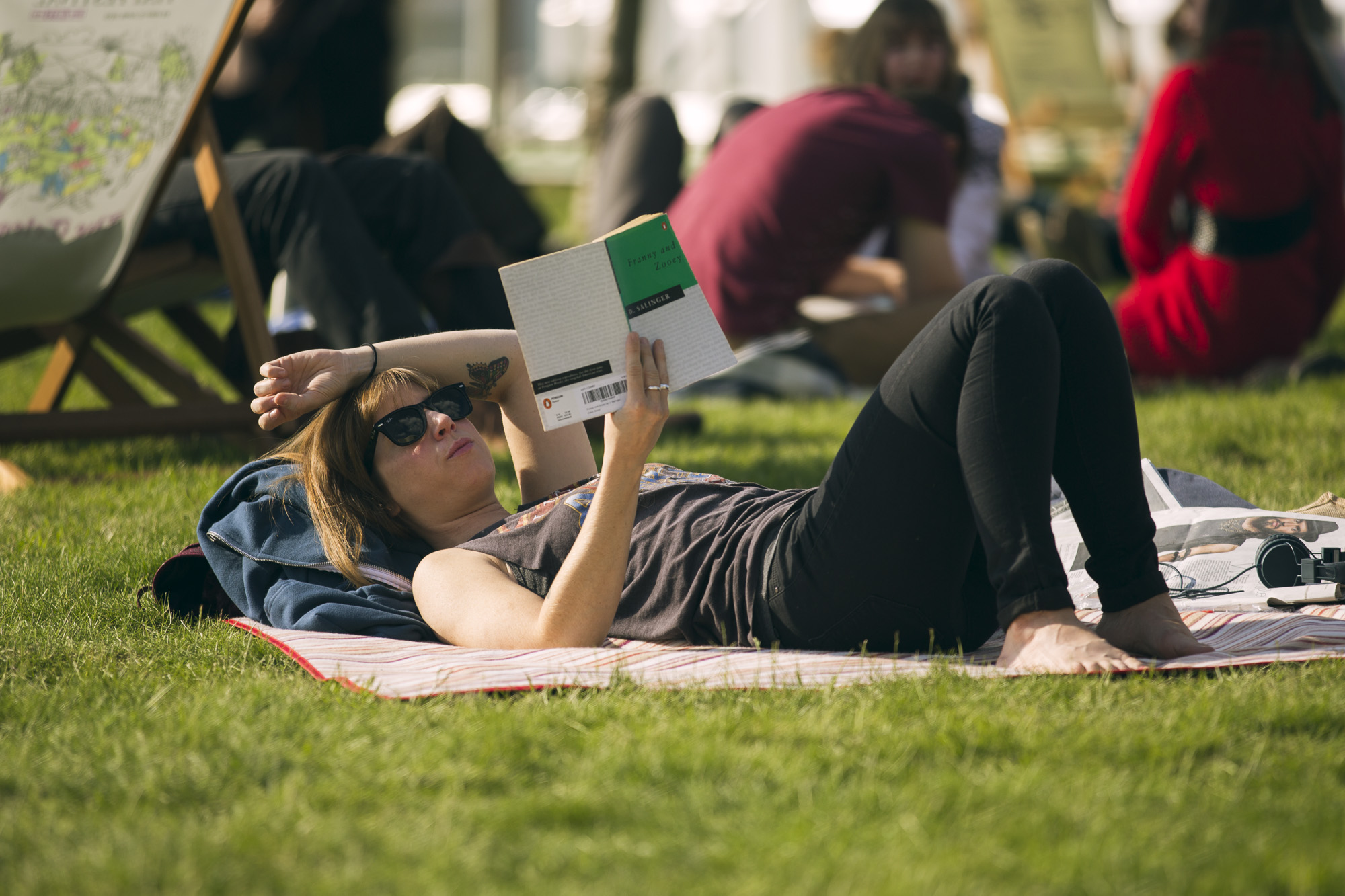 Hay Festival PErson reading book