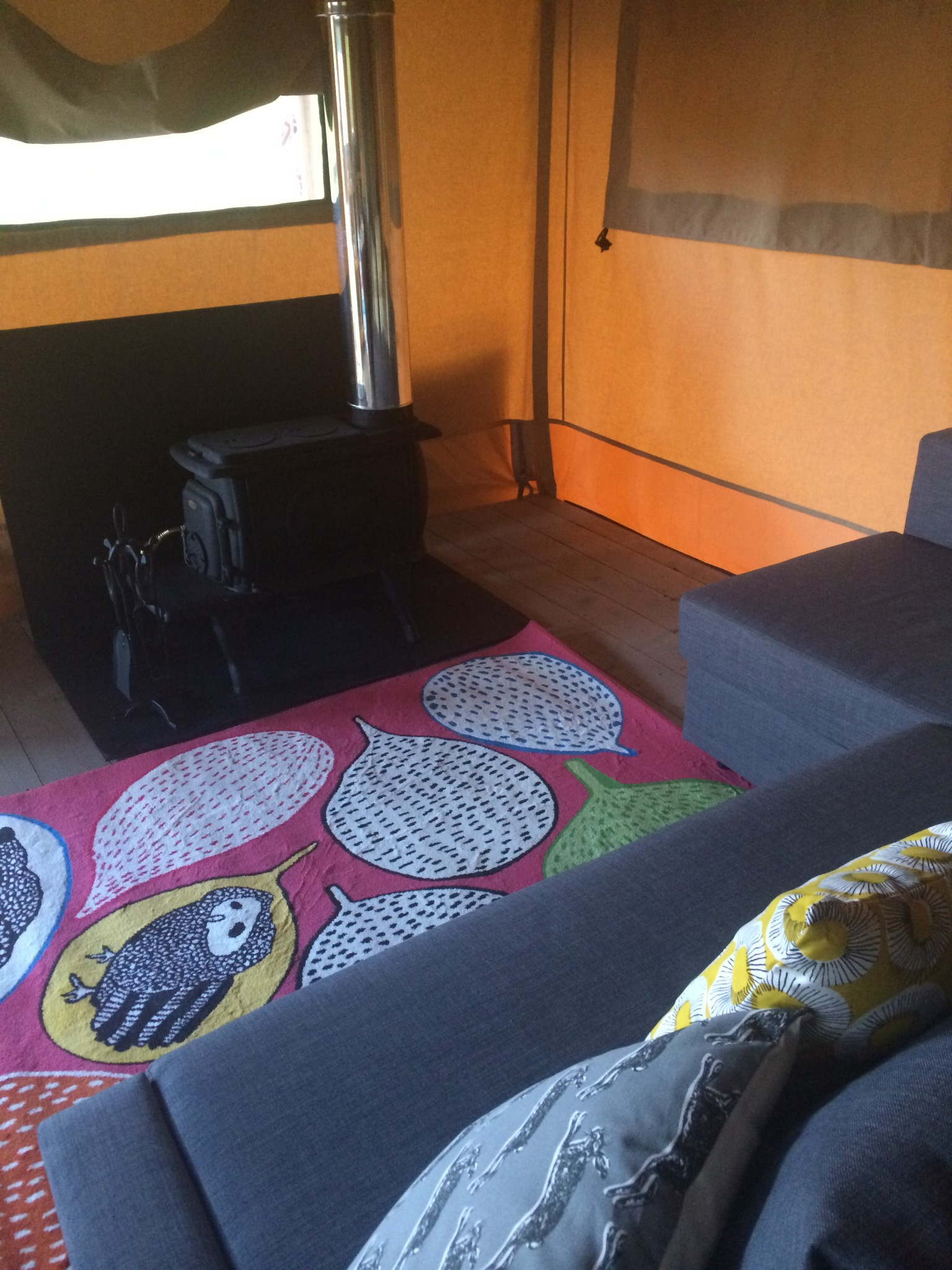 lounge area in glamping tent