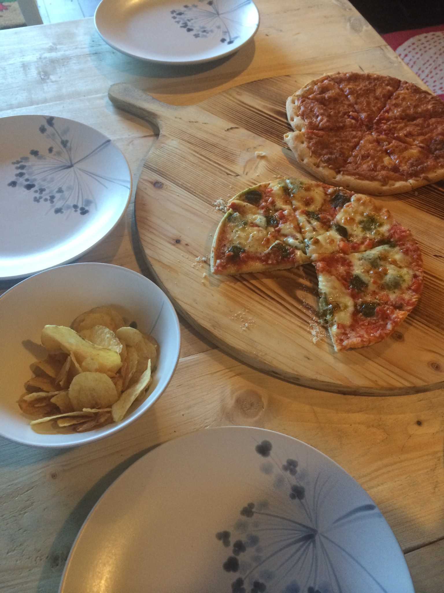 Our pizza dinner at drovers rest glamping site