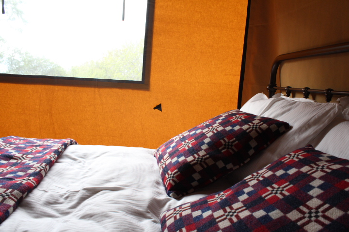 double bedroom in our glamping tent