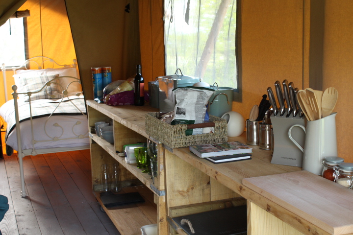 kitchen area inside glamping tent at drovers rest hay on wye