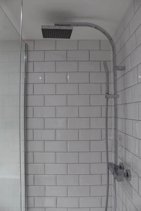 Shower at Drover's rest glamping site, Wales