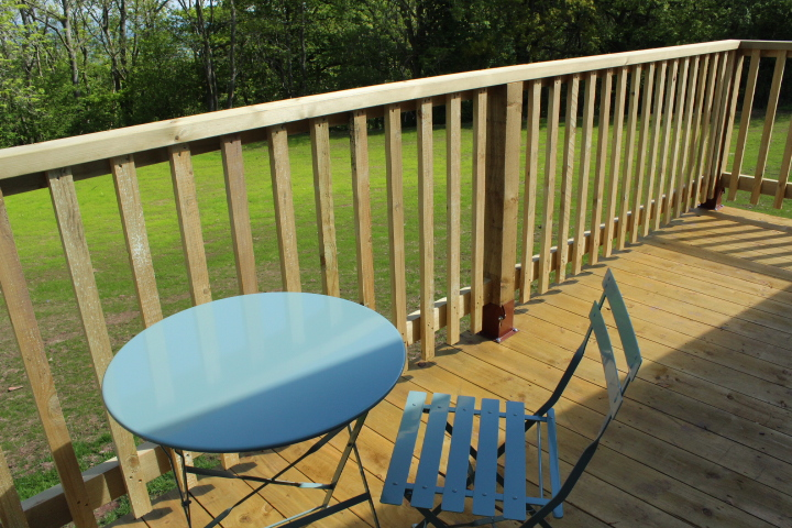 Patio at the back of our drovers rest glamping tent