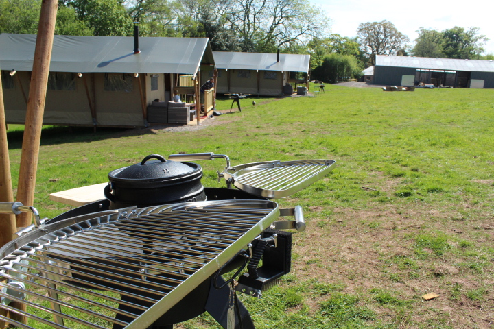 BBQ outside our safari tent in hay on wye