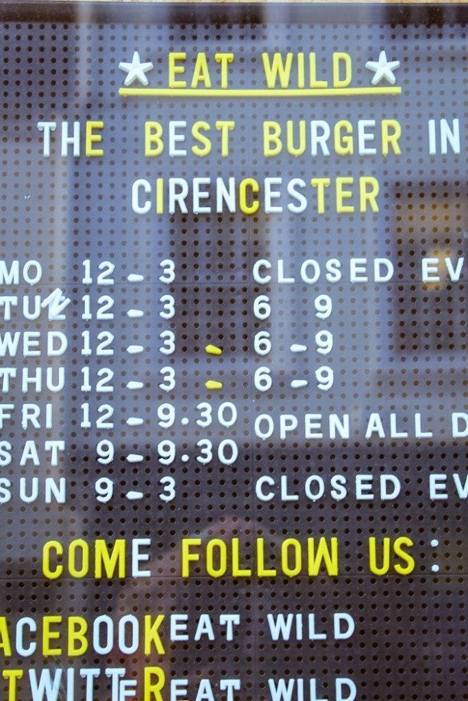 Menu board at Eat Wild, Cirencester