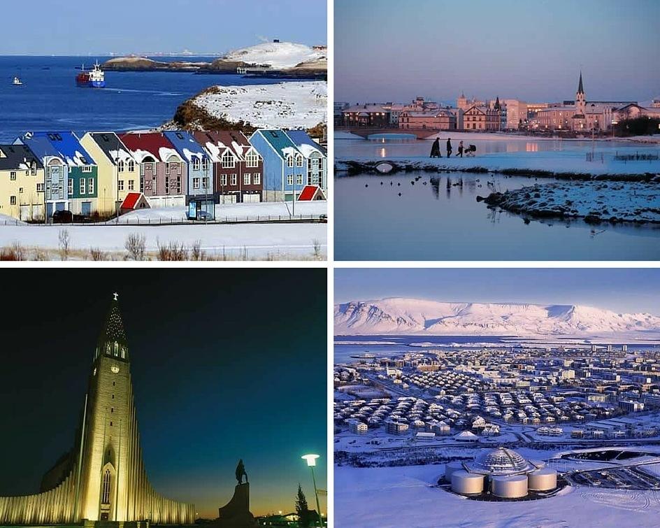 Reykjavík montage of city