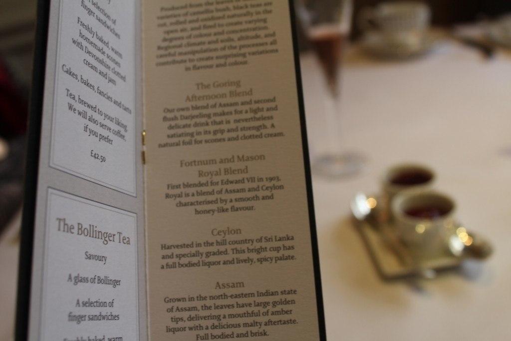 The Goring Hotel, London - afternoon tea menu