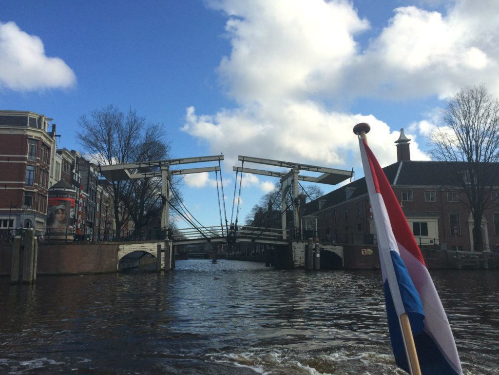 A canal tour in Amsterdam