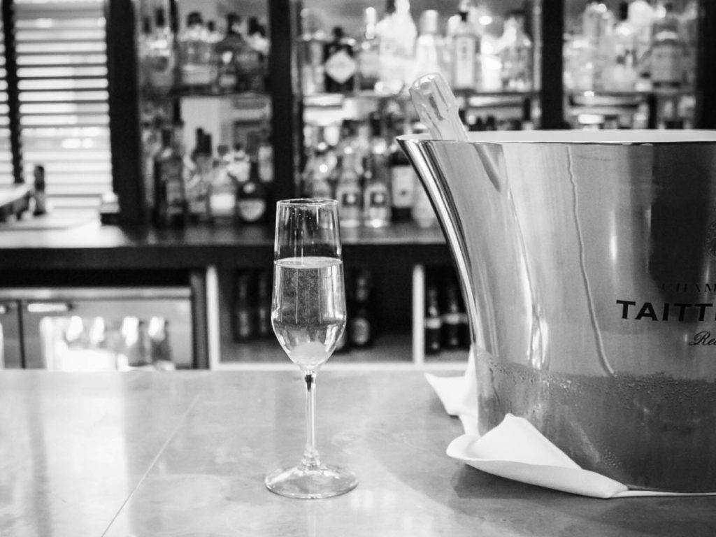 Champagne glass at the Reform Social and Grill London