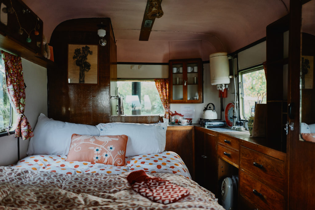 glamping in herefordshire with Mad Dogs and Vintage Vans - Gertie Van