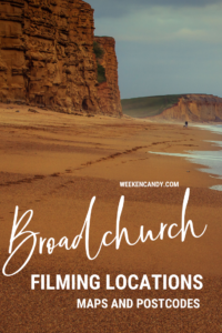 broadchurch filming locations pinnable image of beach and cliffs