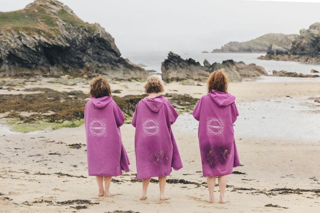 wild swimming retreat wales - ladies on beach