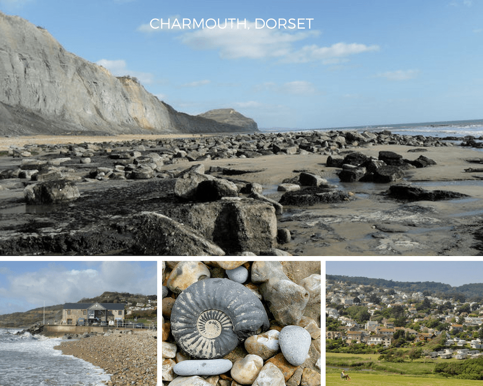 Charmouth beach and fossils in Dorset