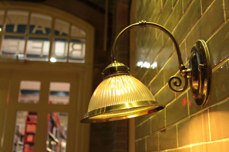 Old station light in Barter Books