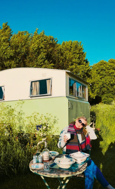Mad Dogs glamping in the Forest of Dean - Relaxing outside Sybil