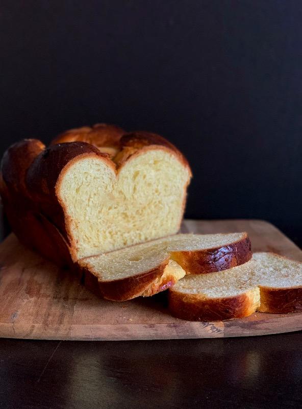 cut brioche loaf