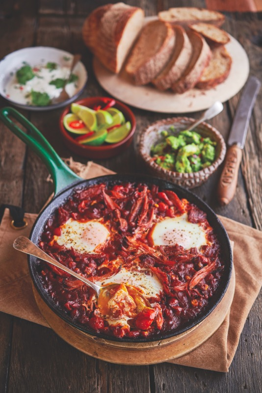 Pinnable image of Mexican ham and eggs brunch recipe