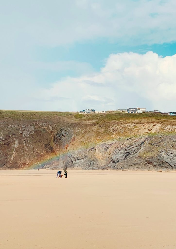 Rainbow on Mawgan Porth beach