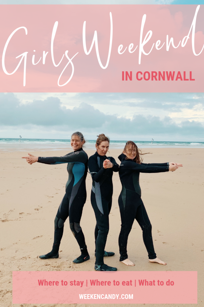 Pinnable image of girls on beach in cornwall