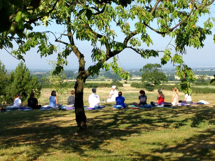 Yoga outside in sun in North Yorkshire