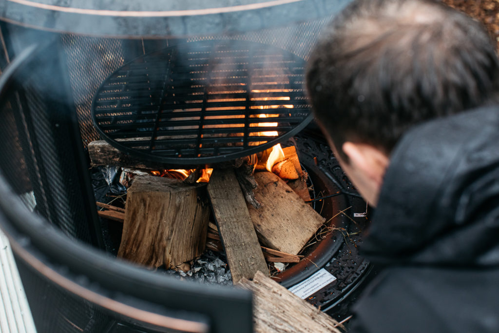 making log fire at willow the wisp cabin sussex