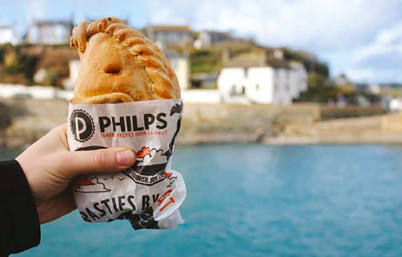 Traditional Cornish Steak Pasty in hand
