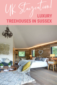 pinnable image of oakey koakey treehouse sussex