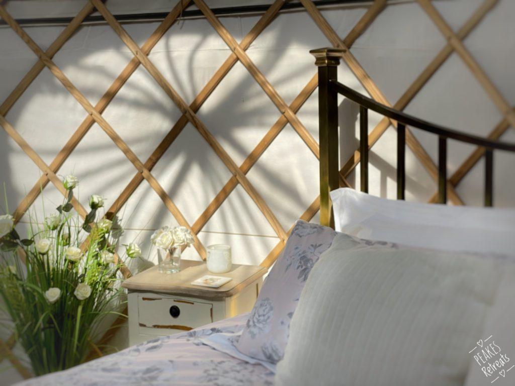 peakes retreat yurts in the peak district - bed