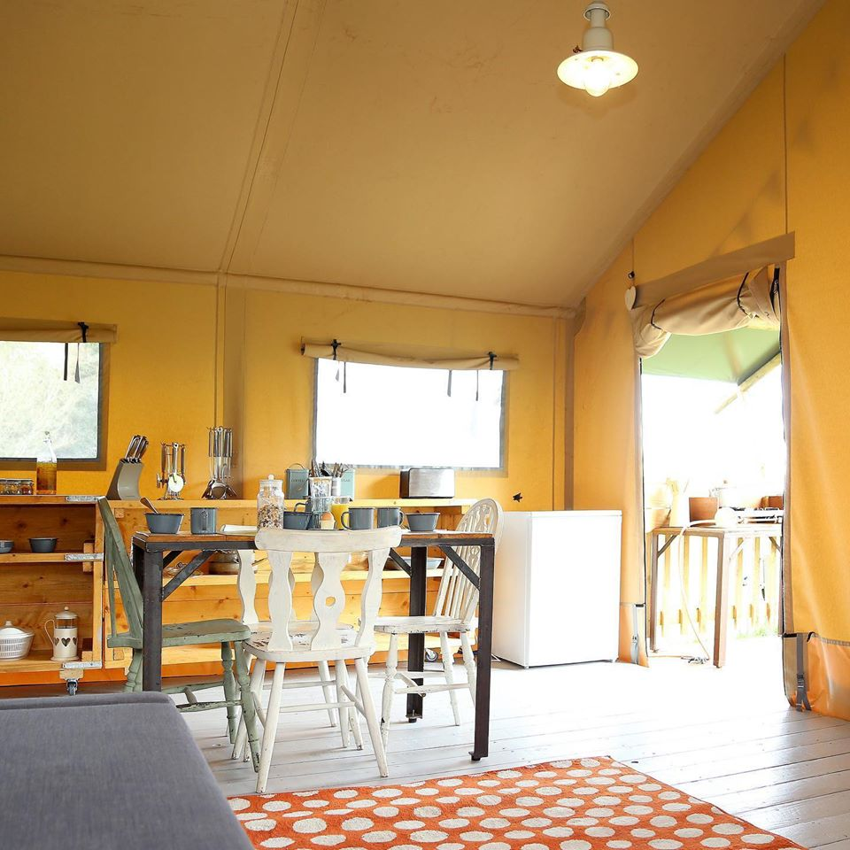 Drover's Rest Safari Tents Glamping, Hay On Wye, Interior and Kitchen Space