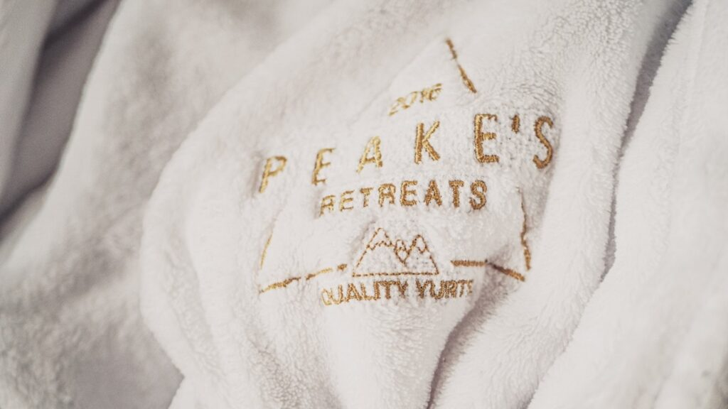 peake's retreats yurts in Staffordshire - branded robes