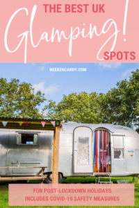 BEST UK GLAMPING pinnable image of airstream van