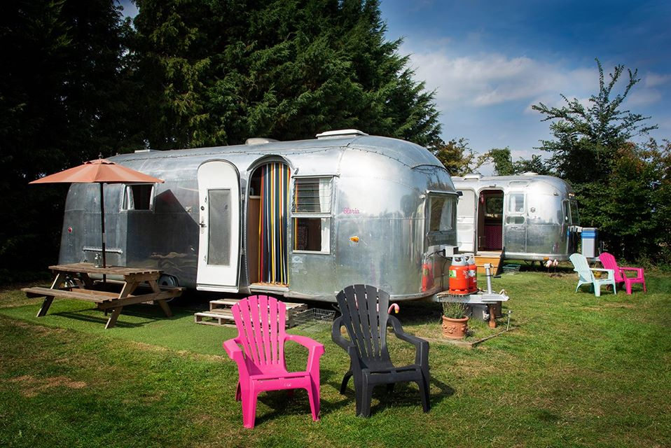 Happy Days Glamping Uk, Suffolk, airstream vans exterior