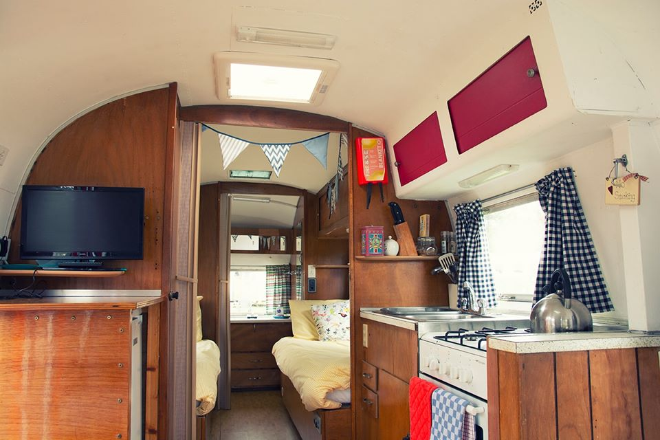 Happy Days Glamping Uk, Suffolk, airstream vans interior